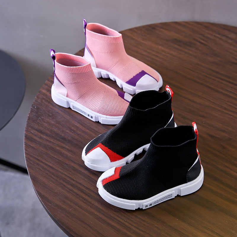 เด็กรองเท้าสบายๆสาวรองเท้าผ้าใบสำหรับวิ่งชายรองเท้าสบายๆรองเท้ากลางแจ้ง Anti-ลื่น Fly ถักถุงเท้าเด็กรองเท้ารองเท้าผ้าใบ 2019