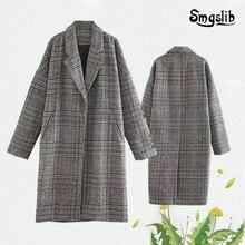 Winter wool plaid coat Hepburn retro casual elegant grey loose medium long new autumn/winter 2019
