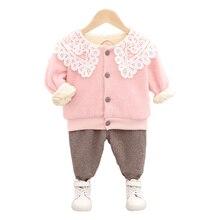 Новая зимняя одежда для маленьких девочек костюмы детская Толстая