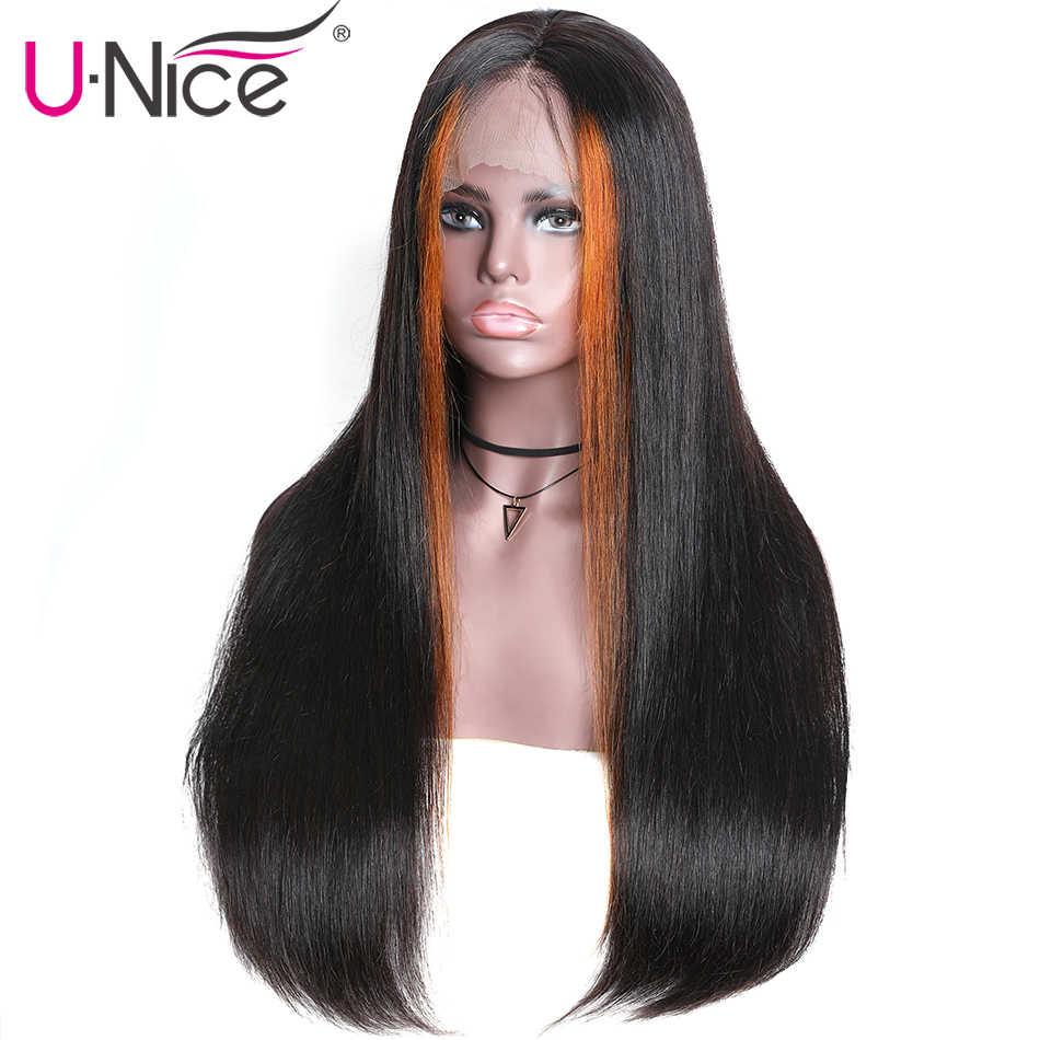 """Unice Haar 13X4 Hoogtepunt Lace Front Menselijk Haar Pruiken 8-24 """"Braziliaanse Steil Haar Pruiken Remy menselijk Haar Pruiken Half Up Half Down"""
