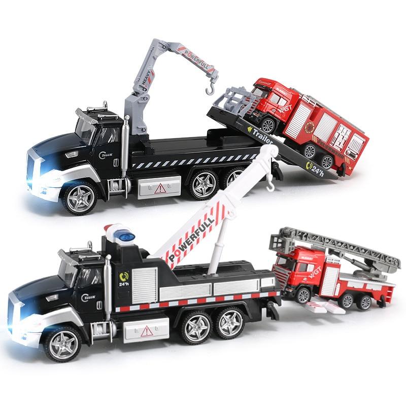 21cm guindaste reboque reboque reboque do caminhão de resgate de incêndio brinquedos som e luz puxar para trás liga diecast & brinquedos veículos carro para meninos crianças y190