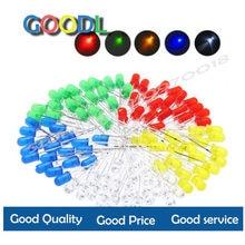 5 núcleos * 20 pces = 100 pces/1 cor = 100 pces f3 3 3mm diodo led luz sortido kit verde azul branco amarelo vermelho componente diy