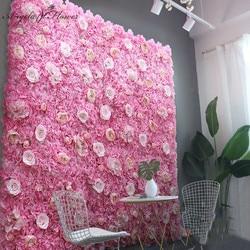 Cheap40*60cm Dahlia Rose Artificial Flower Wall Panel Decor Backdrop Wedding Party Event Birthday Shop Scene Layout Customizable