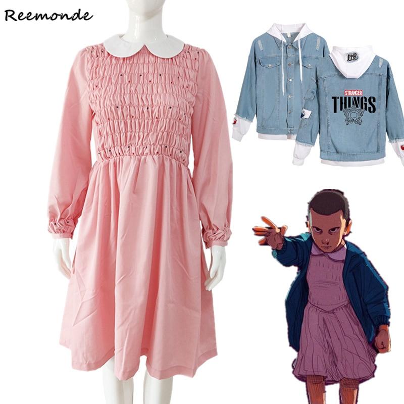 Stranger Things Season 3 Cosplay Costume Eleven Dress Pink Pleated Skirt Girl Denim Jacket Stranger Things Hoodie Sweatshirt Boy