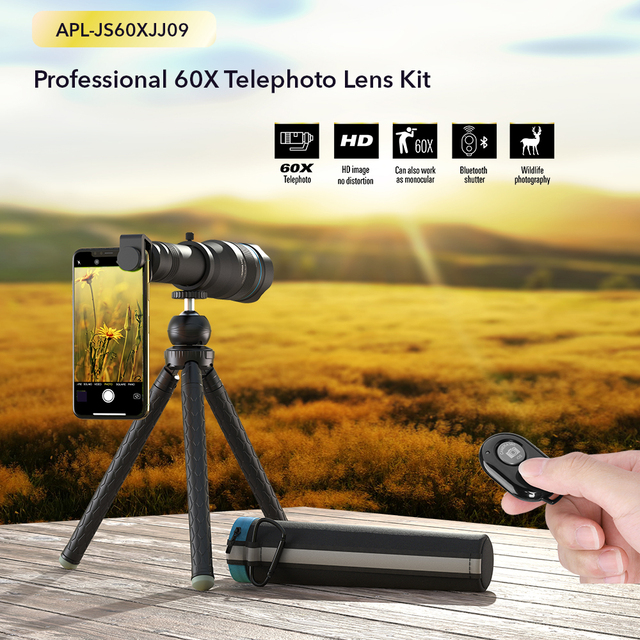 APEXEL Optional HD 60X metal telescope telephoto lens monocular mobile lens+ extendable tripod for iPhone Huawei all Smartphones 2