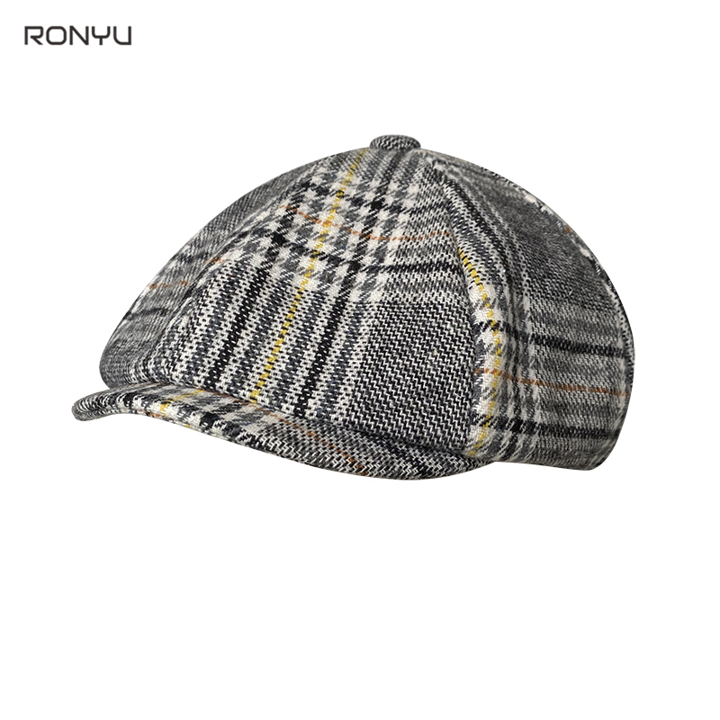 Vintage Man Hat Men's Plaid Newsboy Hat Autumn Winter Berets Wool Blend Women England Gatsby Hat Men Driver Flat Cap BJM29