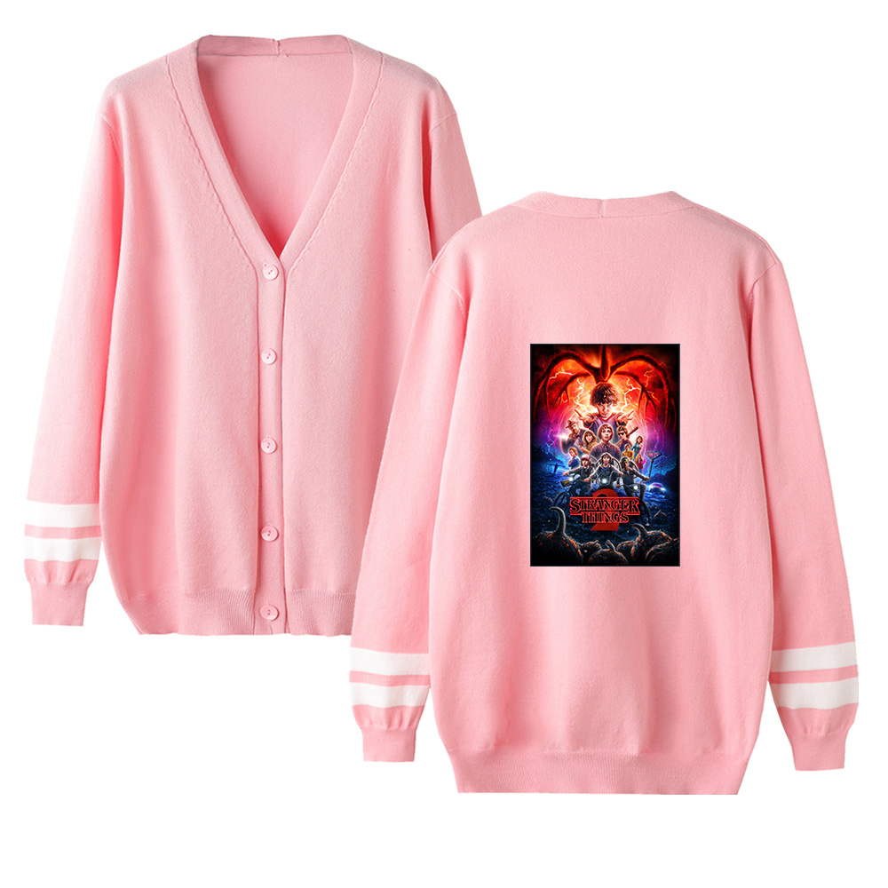 Stranger Things Cardigan Sweater Men/women New Brand Fashion Unisex V-neck Cardigan Sweater Pink Casual Knitting Female Sweate