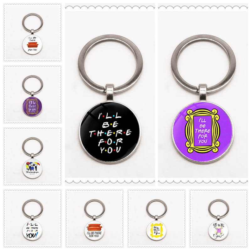 Newest Friends TV Show Keychain 25th Anniversary Series Cartoon Fun Pattern Glass Dome Pendant Key Chain for Good Friend