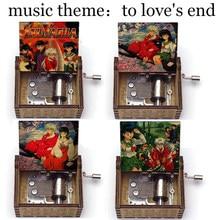 Para o fim do amor tema música inuyasha kagome kikyo impressão caixa de música de madeira anime fãs aniversário festa presente para crianças estudantes brinquedo