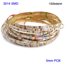 Superbright 5M DC12V 5mm 3014 SMD High Bright 120leds/M LED Strip tape Natural White/White/warm white/Red/blue/Green/Yellow
