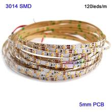 Superbright 5M DC12V 5mm 3014 SMD High Bright 120leds/M LED Strip tape Natural White/White/warm white/Red/blue/Green/Yellow