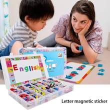English Uppercase Lowercase Letters Magnetic Stickers with Baseboard Pre-school Educational Kit Kids Educational Sticker Toys(China)
