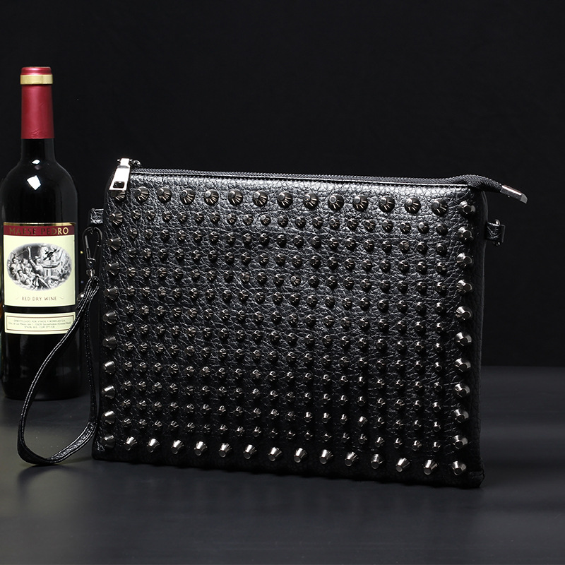 Men's Shoulder Bag Rivet Style Male Leather Bag Crocodile-pattern Crossboday Handbags Messenger Bag Leather Satchel