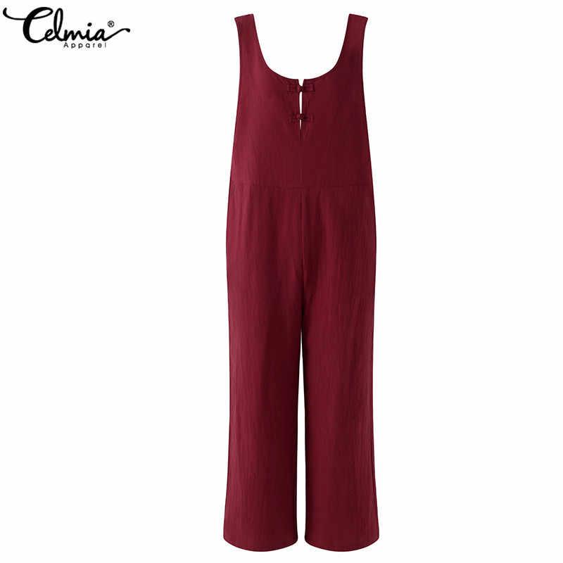 Celmia 2020 kobiet bawełniane lniane kombinezony letnie dorywczo bez rękawów w stylu Vintage kombinezony długie spodnie ogrodniczki kombinezony plus size