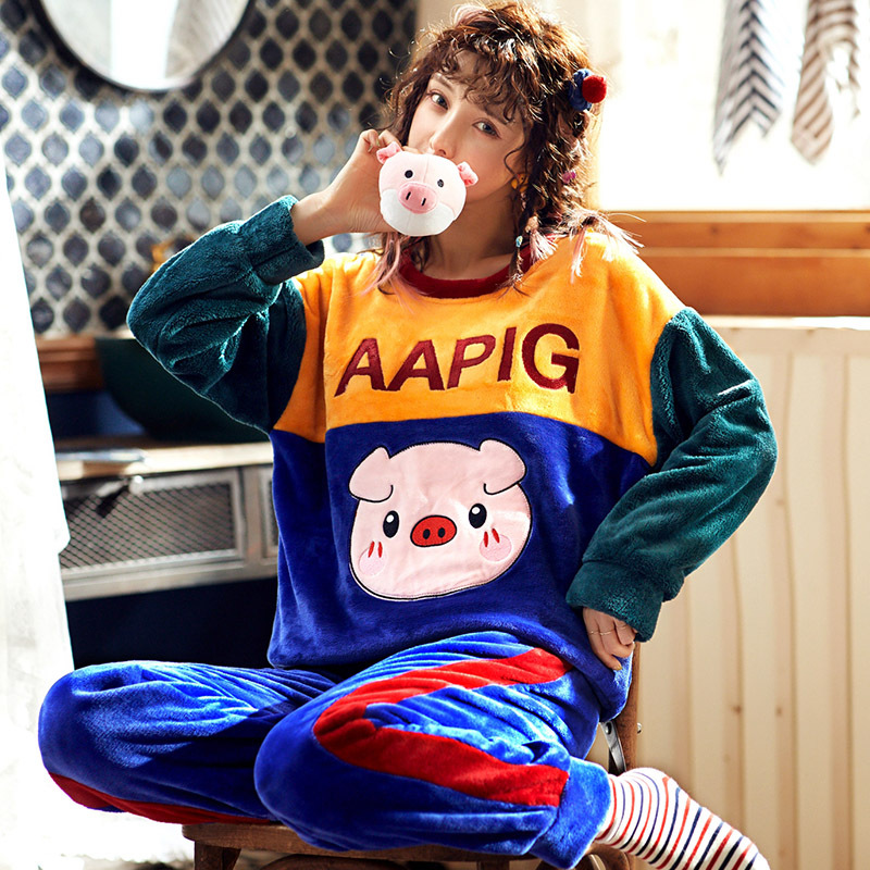 High Quality Women Pajama Sets Winter Soft Thicken Cute Cartoon Flannel Sleepwear 2 pcs/Set Tops + Warm Pants Home Clothes Mujer 25