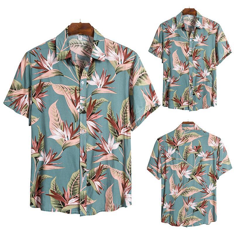 Пляжная новая рубашка 2020 гавайская рубашка мужская летняя Праздничная Модная рубашка с коротким рукавом и пуговицами гавайская рубашка му...