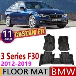 Zwyczaj skóra samochodu mata podłogowa dla BMW serii 3 F30 4 drzwi Sedan 2012 ~ 2019 5 miejsc stóp pad dywanik akcesoria 2013 2014 2015 2016|Naklejki samochodowe|   -