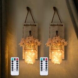 2 sztuk słój na przetwory kinkiet rustykalne dekoracje ścienne z lampki wiszące Wall Art dla kryty i odkryty FARM Garden Yard Home Decor w Wewnętrzne kinkiety LED od Lampy i oświetlenie na