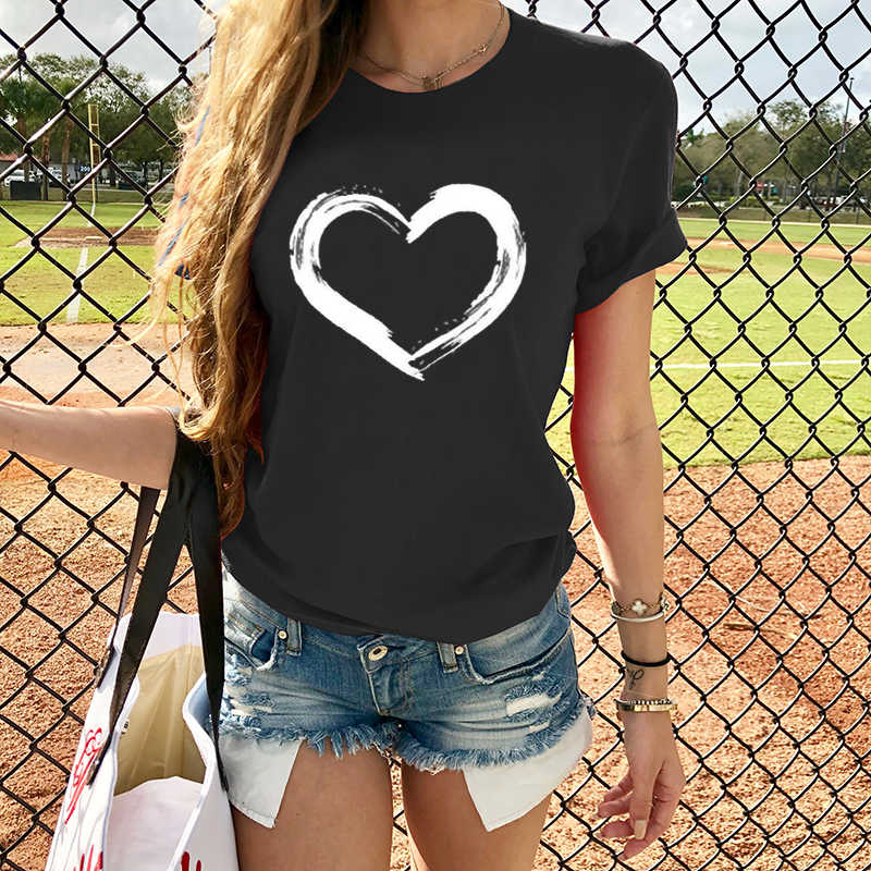 Harten Vrouwen T-shirts Casual Harajuku Liefde Gedrukt Tops Tee Zomer Vrouwelijke T-shirt Korte Mouw T-shirt Voor Vrouwen Kleding