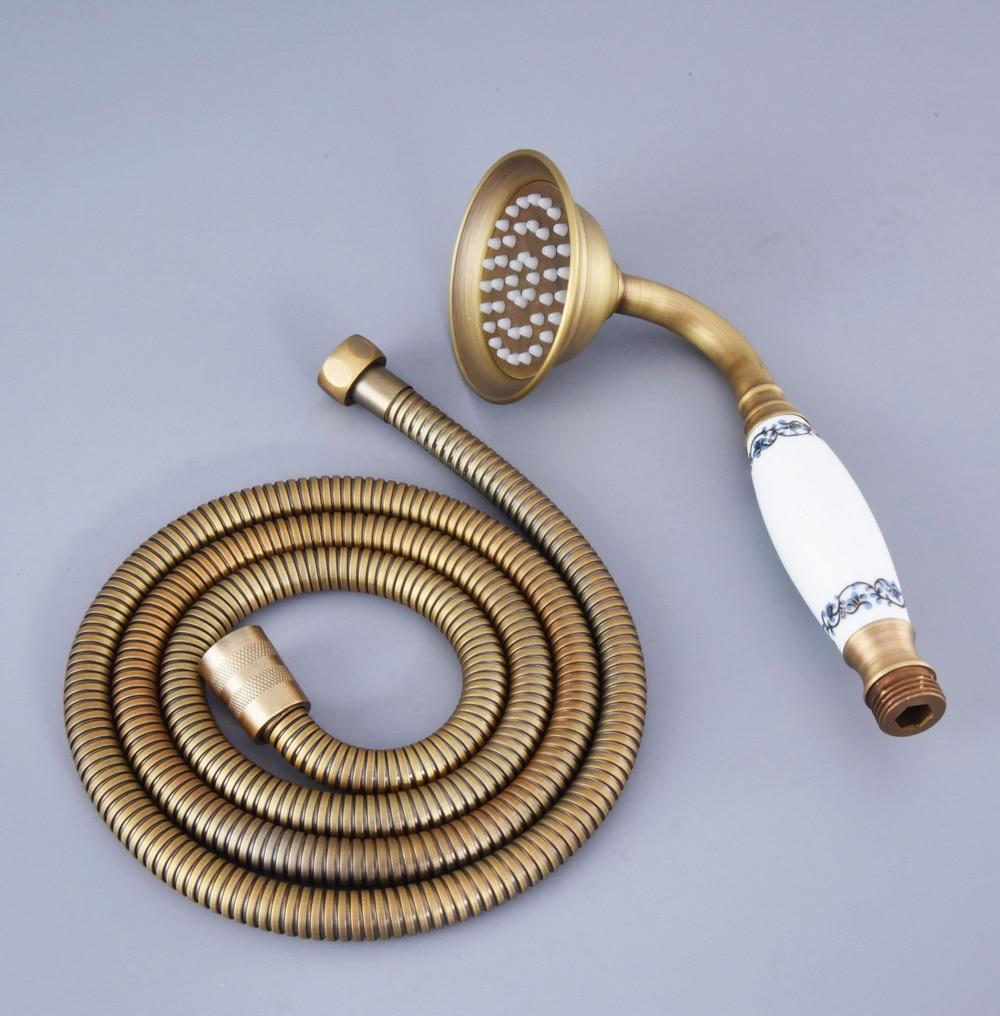 Brass Metal Gold Water Saving Telephone Shower Head Handheld Sprayer Hose Holder