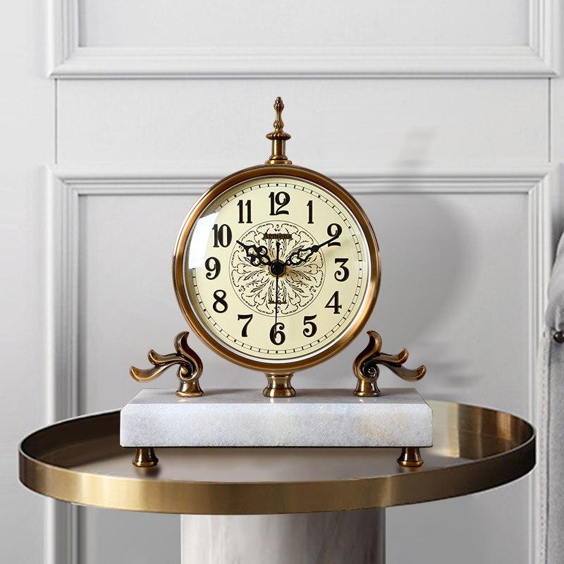 Retro Silent Simple Fashion Clock Metal standing Room Office Old Desk clock Vintage Antique Decor Relogio Mesa Home Decor BY50DC