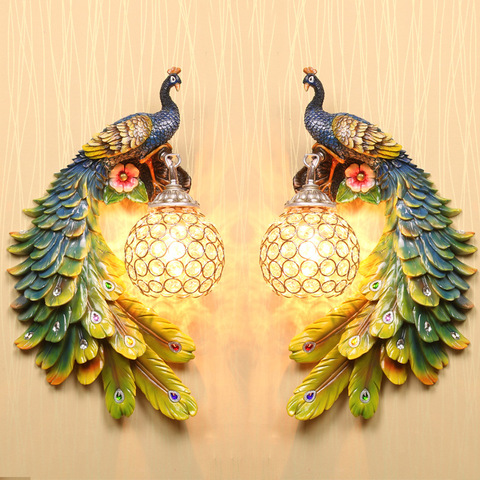 sudeste asiatico um par pavao lampada de cristal resina cor luz parede do jardim cabeceira