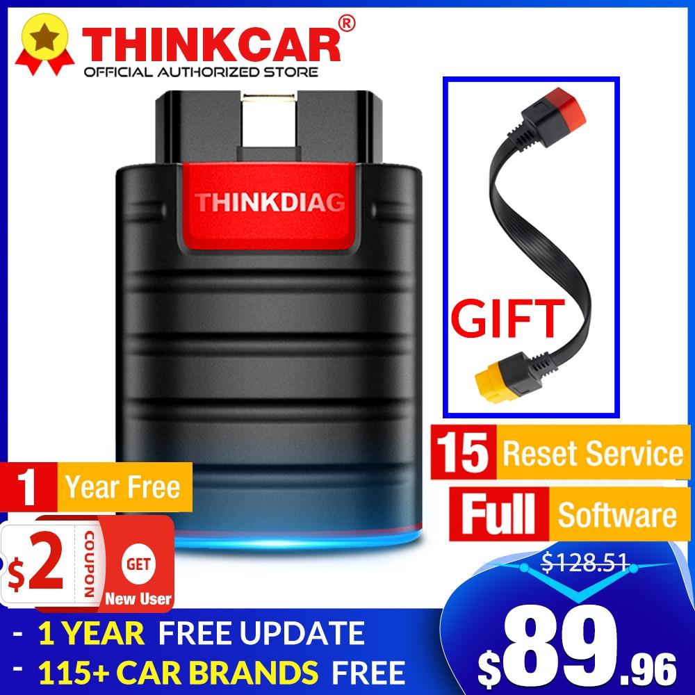 Полная система THINKDIAG + 15 программного обеспечения для сброса, 1 год бесплатного обновления, автоматический OBD2 сканер OBDII, bluetooth считыватель ко...