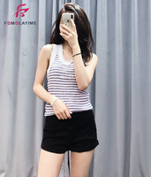 New Sleeveless Tops Women Tank Loosely Worn 2020 Summer Striped Knitted Tanks