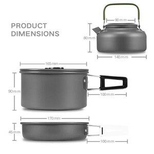 Image 3 - Vilead pote de acampamento portátil pan chaleira conjunto liga alumínio utensílios de mesa ao ar livre panelas 3 pçs/set bule cozinhar ferramenta para piquenique churrasco