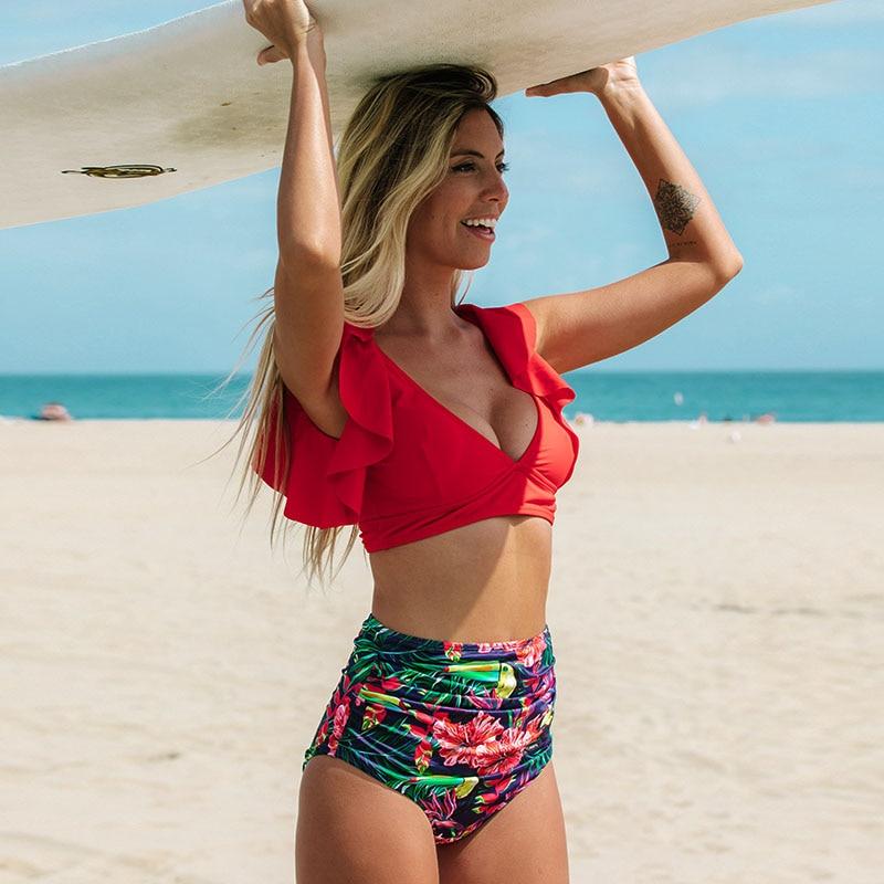 H90ef3f9d952042b3839d7edfcefea0d8N Floral Ruffled Hem Bikini Set Women Flora V-neck High-waisted Two Piece Swimsuit 2018 Girl Beach Bathing Suit Swimwear Biquinis