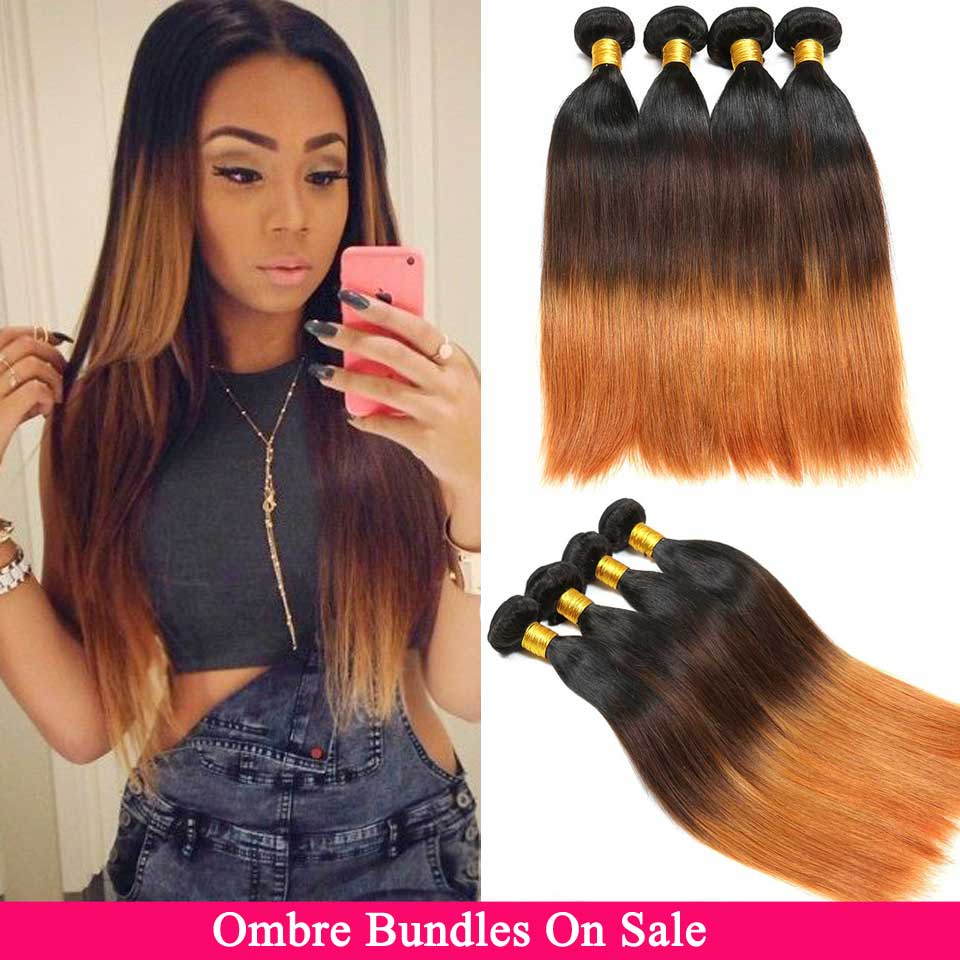Ombre Straight Hair Bundles Brazilian Hair Weave 3/4 Bundles Honey Blonde Non-Remy 1B/4/27 30 Ombre Human Hair Extensions