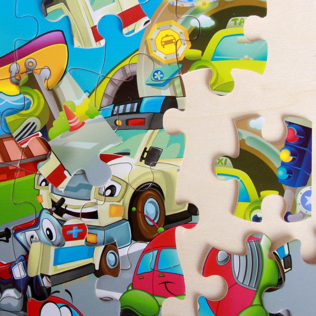 40 Pieces Kids Wooden Puzzle Board Toy Fun Cartoon Animal Jigsaw Boy Girl Baby Early Educational Learning Toys for Children Gift 5