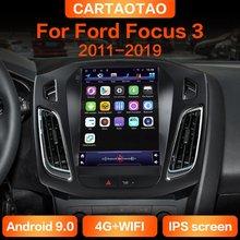 Автомагнитола для Ford Focus 3 2011, 2012-2019, Android 9,0, GPS-навигация, стерео, вертикальный IPS экран, мультимедийный видеоплеер 2din