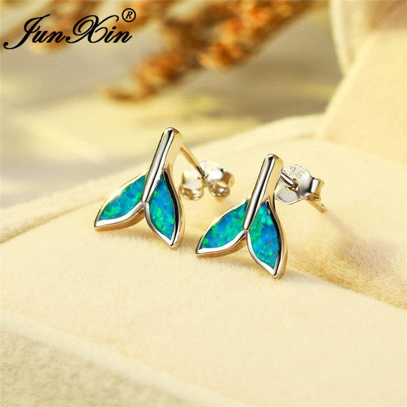 White Gold Filled Blue White Fire Opal Earrings Mermaid Tail Stud Earrings For Women Men Wedding Studs Fishtail Ear Jewelry