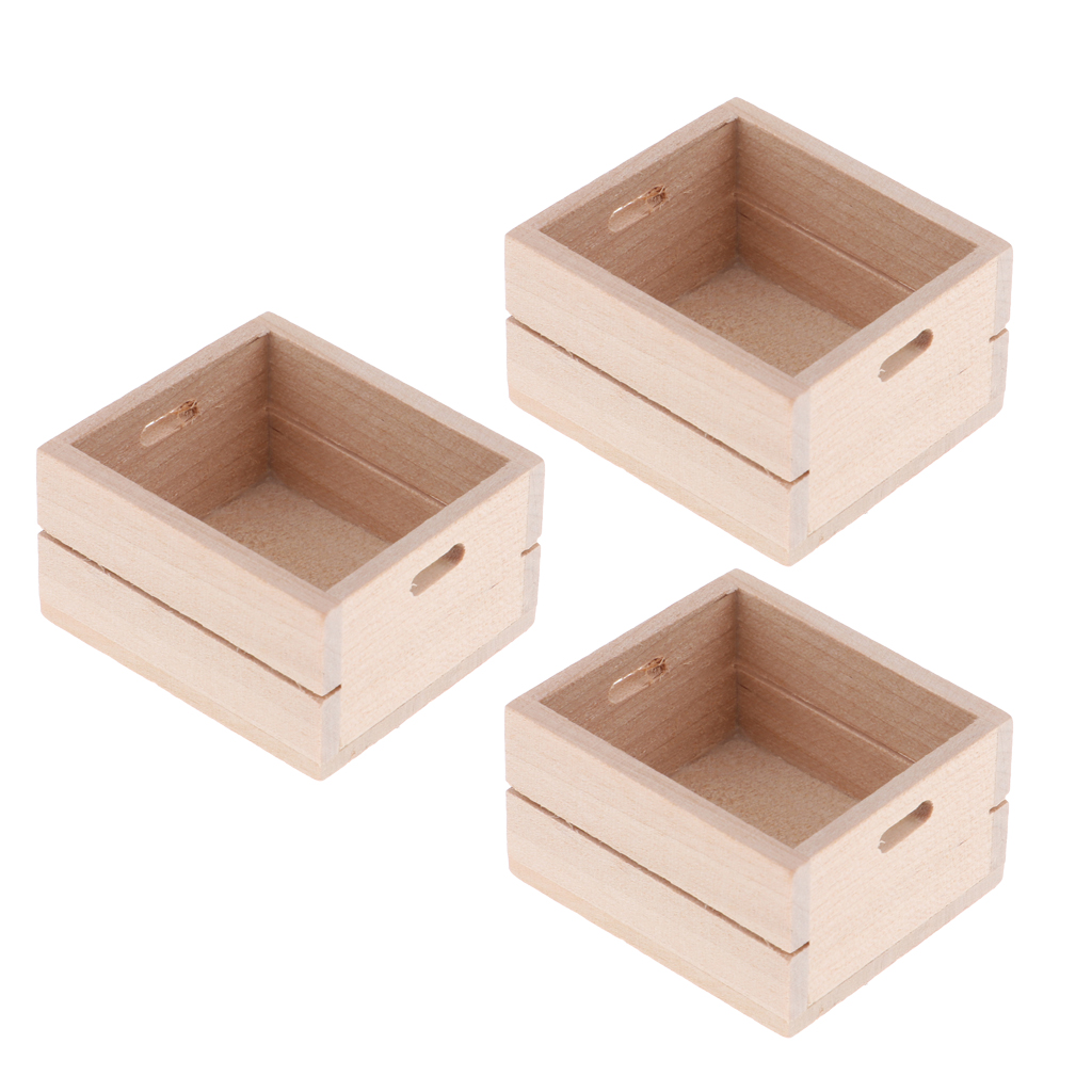 Pack Of 3 Wood Miniature Vegetable Fruits Basket Container Accessories For 1:12 Scale Dollhouse And Kids Pretend Play Restaurant
