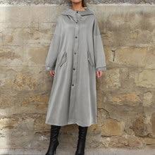 Moda balıkçı yaka mont kadın katı ceketler ZANZEA 2021 Casual uzun kollu Baggy yıpratır kadın düğme palto artı boyutu