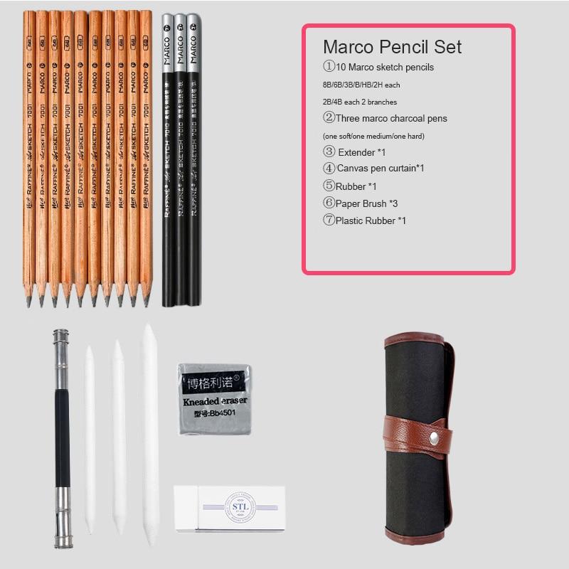 Marie's карандаш для эскизов набор эскизная ручка набор карандашей для рисования начинающих студентов профессиональный полный набор эскизов Пишущие принадлежности - Цвет: canvas pen curtain