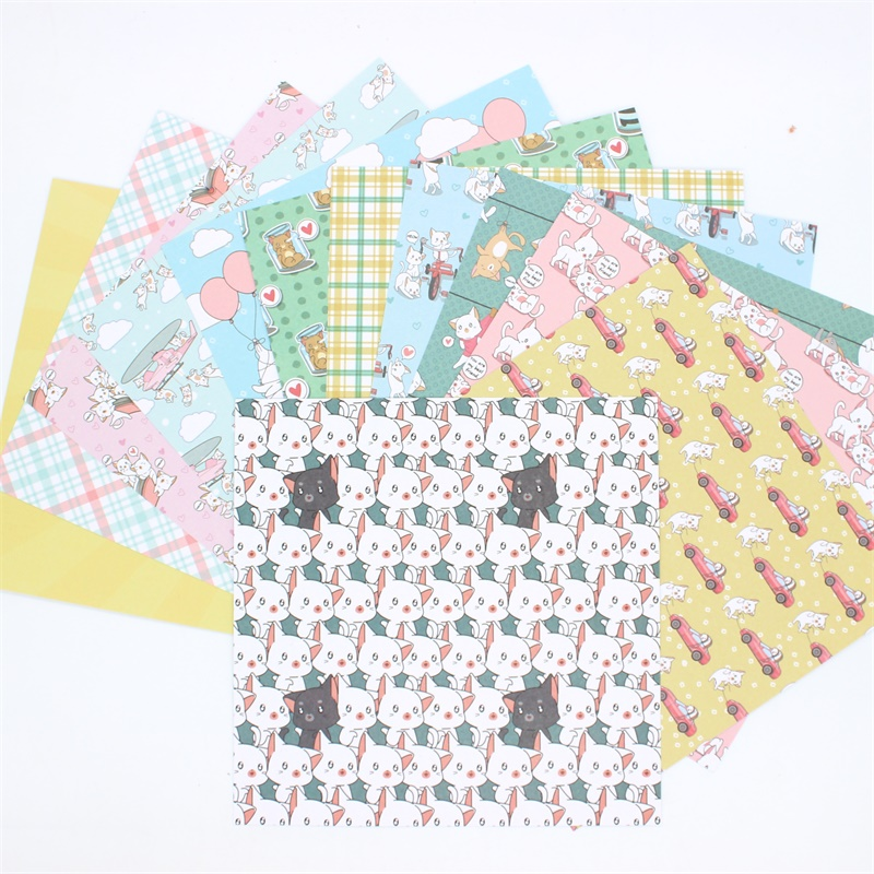 "KSCRAFT 12pcs 6"" Single-side Printed Cute Cat Pattern Creative Papercraft Art Paper Handmade Scrapbooking Kit Set Books"