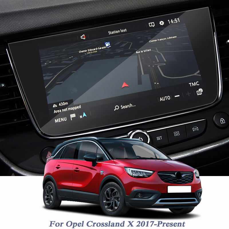 Car Styling For Opel Crossland X 2017-Present GPS Navigation Screen Glass Protective Tempered Film Internal Accessories