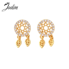 Joolim High End Fine Jewelry 925 Sterling Post  Cubic Zirconia Leaf Drop Earring Dangle