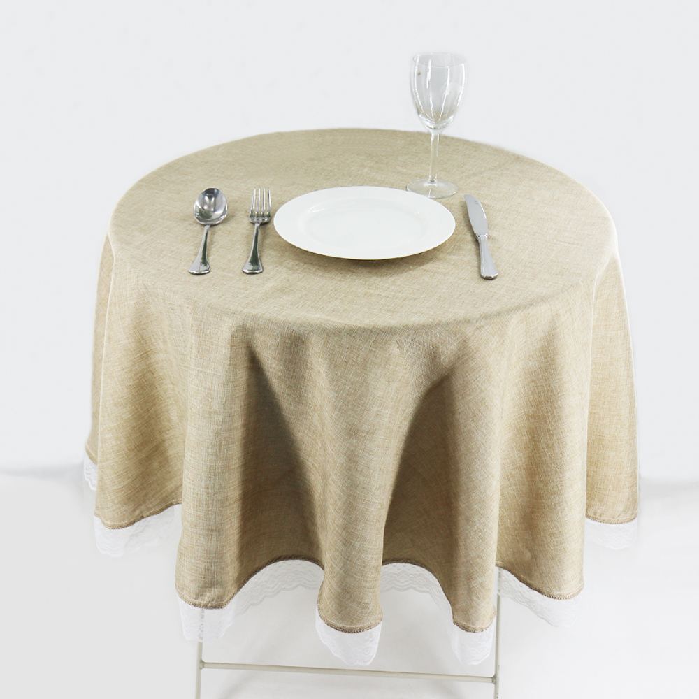1 Pc Round Khaki/Gray Lace Tablecloth Dining Table Cover Cloth Home Hotel Textile For Christmas Wedding Event Hotel Decor