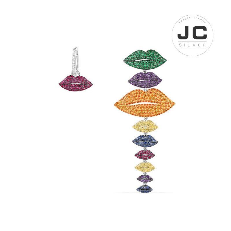 Nouvelle mode breloques argent 925 Original copie bijoux, asymétrique multicolore lèvres boucles d'oreilles pour les femmes avec Mono Logo Zircon boîte-cadeau