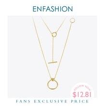 Enfashion clássico nó pingentes colares de aço inoxidável cor do ouro gargantilha colar para mulher longa corrente jóias collier