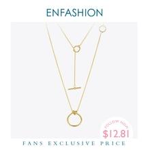 Enfashion 클래식 매듭 펜던트 목걸이 여성을위한 스테인레스 스틸 골드 컬러 초커 목걸이 긴 체인 쥬얼리 콜리어