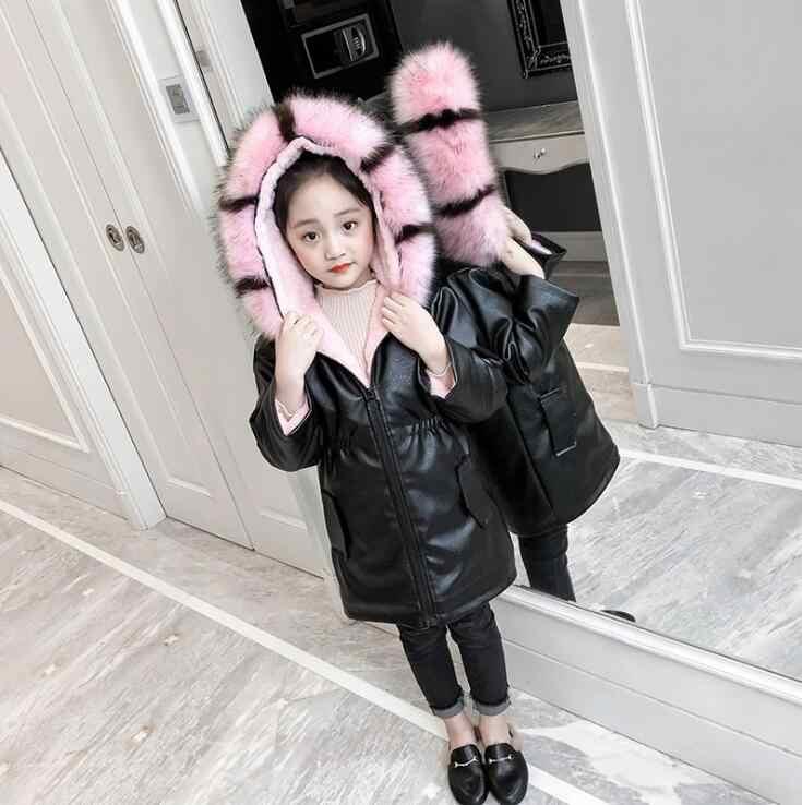 4-12 שנים ילדה חורף כותנה מרופדת מעיל ילדים אופנה מעיל ילדי הלבשה עליונה תינוק של חם למטה מעיל ילדה של חג המולד מתנה