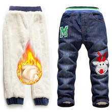 Girls Baby Children Jeans Trousers New 2019 Christmas Winter Thick Fashion Boys Pants Kids