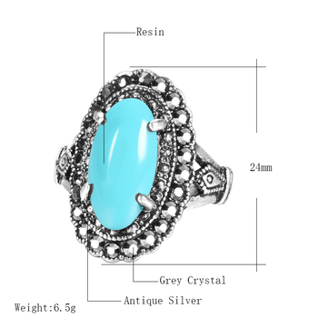 Kinel Hot 2020 Fashion Gorgeous Antique Silver Ring Vintage Wedding Jewelry Punk Green Resin Stone Rings For Women Drop Shipping