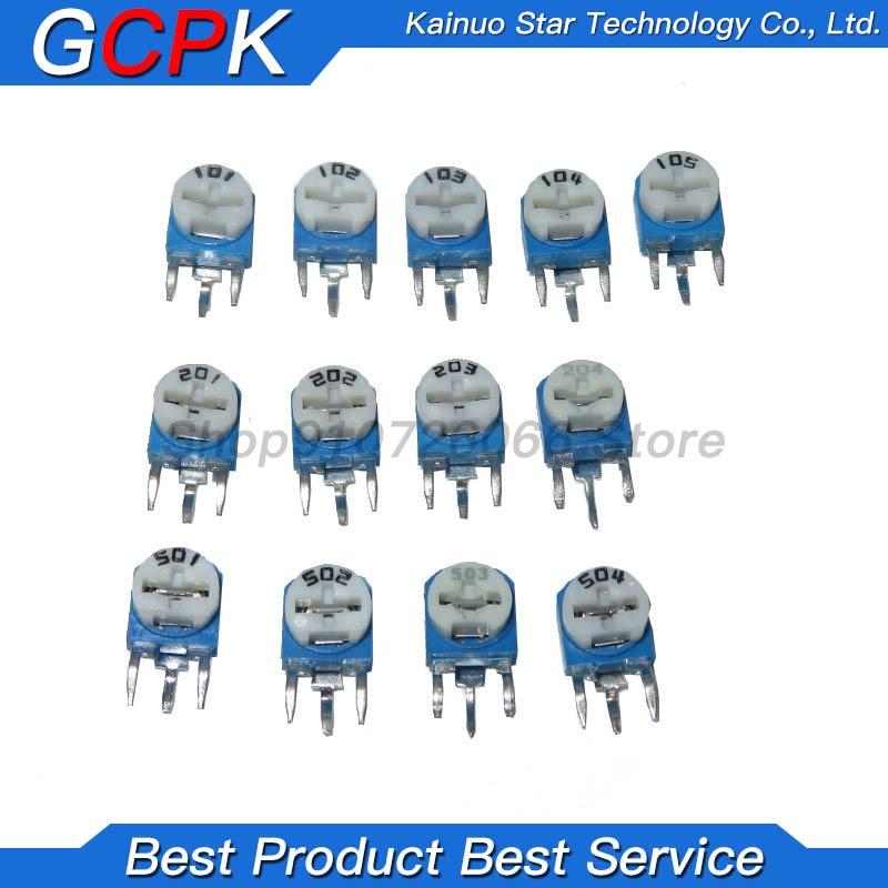 65 unids/lote RM063 Trimmer Resistor ajustable potenciómetro de 500R 1K 5K 10K 20K 50K 100K 200K 500K 1M RM-063 resistencias variables