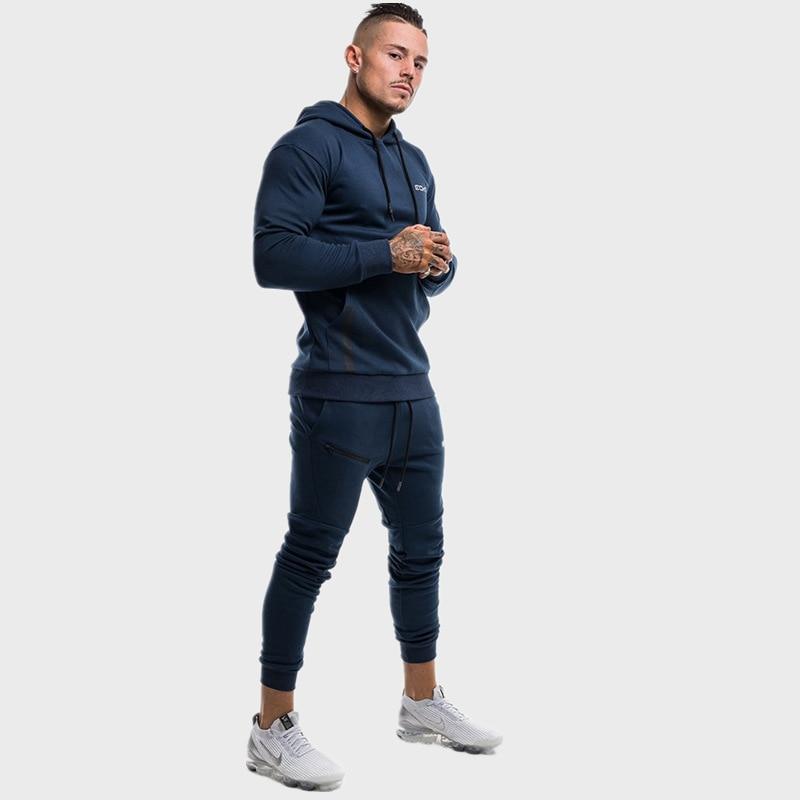 Mens Sport Suit Men Bodybuilding Jacket Pants Sports Suits Gyms Fitness Running Set Sportwear Tracksuit Mens Hoodies+Pants