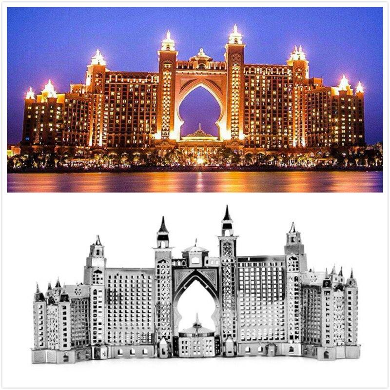 Atlantis Hotel 3D Metal Puzzles Dubai The Palm Buildings Construction Laser Cut Assemble Jigsaw Adult Gifts Toys Collection